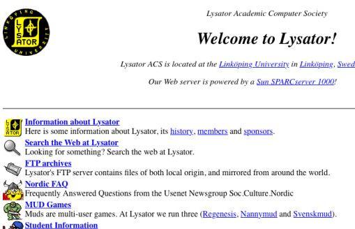 lysator first website sweden