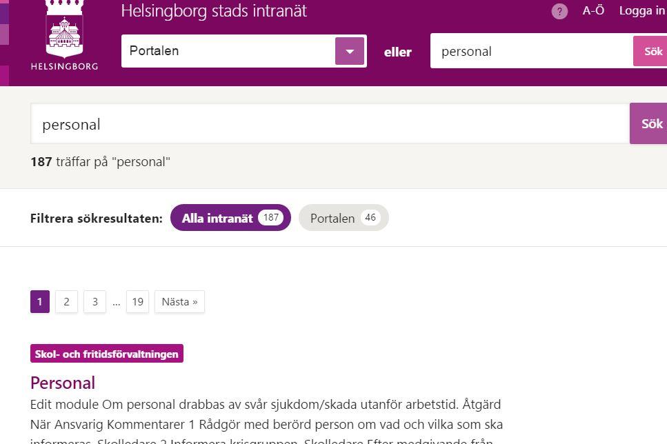 Helsingborg, öppet intranät Intranät, Nyheter, Offentlig sektor, Office 365 SharePoint Online, Wordpress