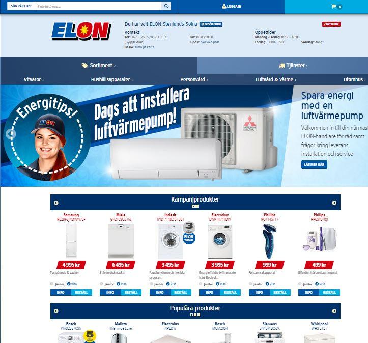 Modern e-handel på Elon.se live, pickup-in-store förvillar